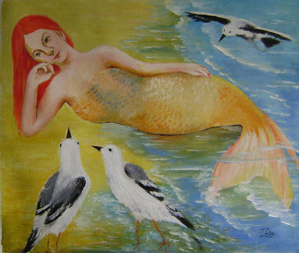 Fantasy Art Print featuring the painting Mermaid And Seagulls by Lian Zhen