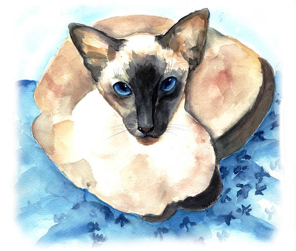 Feline Art Print featuring the painting Ming by Gina Hall