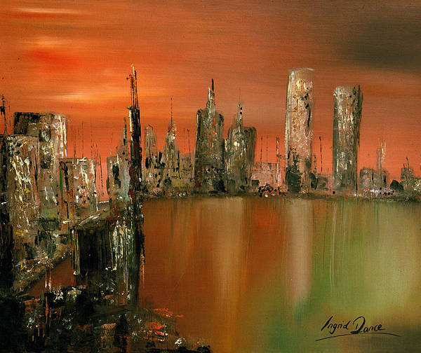 City Art Print featuring the painting Monday Night by Ingrid Dance