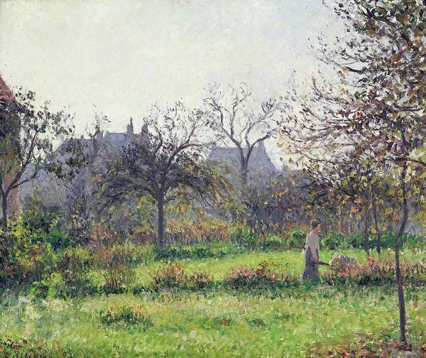 Morning Print featuring the painting Morning Sun by Camille Pissarro