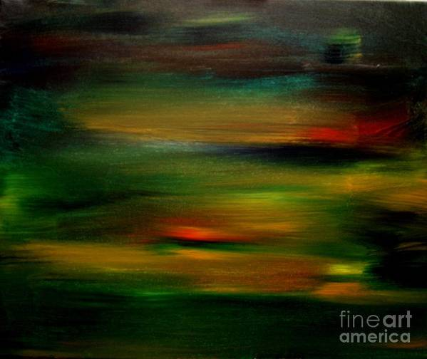 Sunset Art Print featuring the painting Peninsula Sunset 2 by Karen L Christophersen