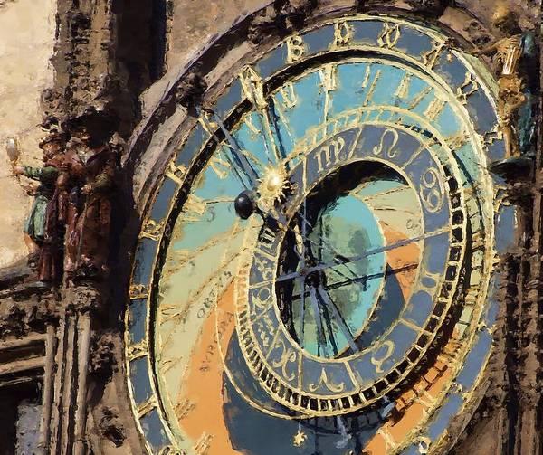 Prague Print featuring the painting Praha Orloj by Shawn Wallwork