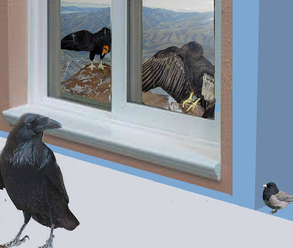 Landscape Art Print featuring the digital art Raven And Junco With Condors by Lea Cox