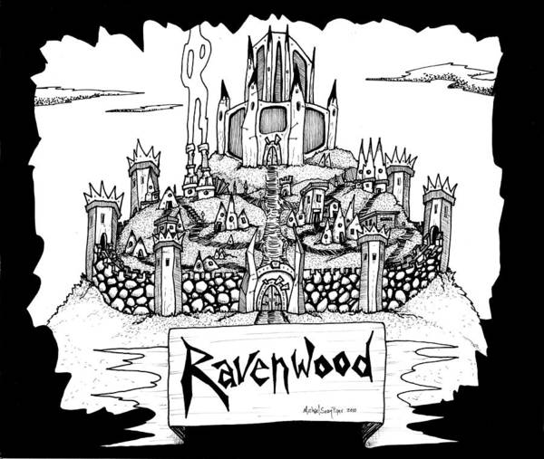 Fantasy Art Print featuring the drawing Ravenwood by Michael Sean Piper