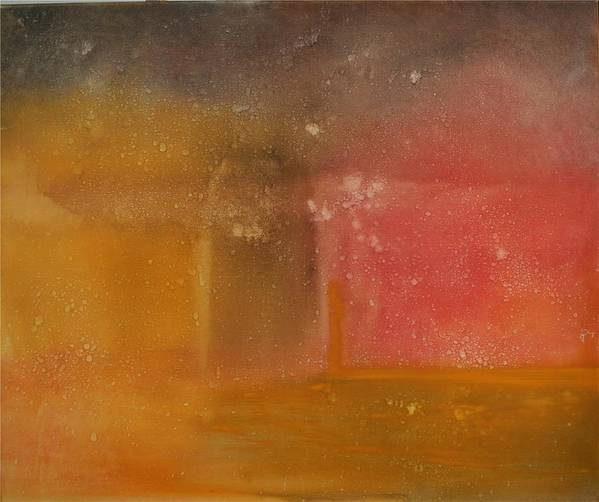 Storm Summer Red Yellow Gold Art Print featuring the painting Reflection Summer Storm by Jack Diamond