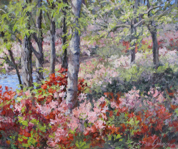 Azaleas Art Print featuring the painting Stars Of Spring by L Diane Johnson