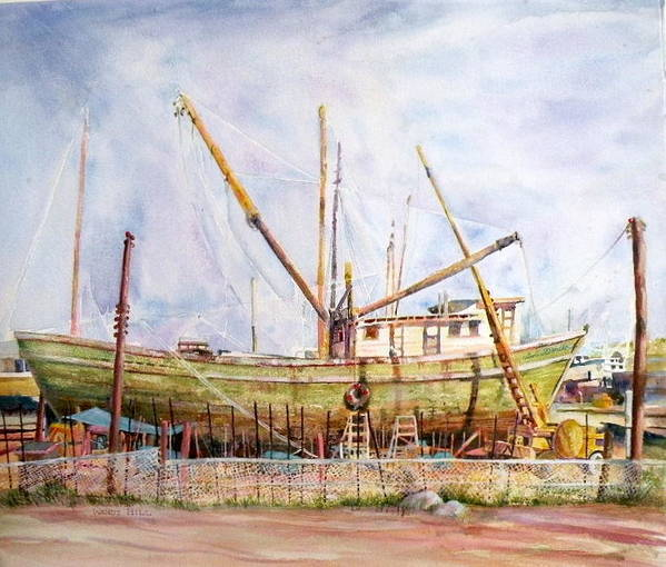 Boat Art Print featuring the painting Sun Dancer In Dry Dock Mexico by Wendy Hill