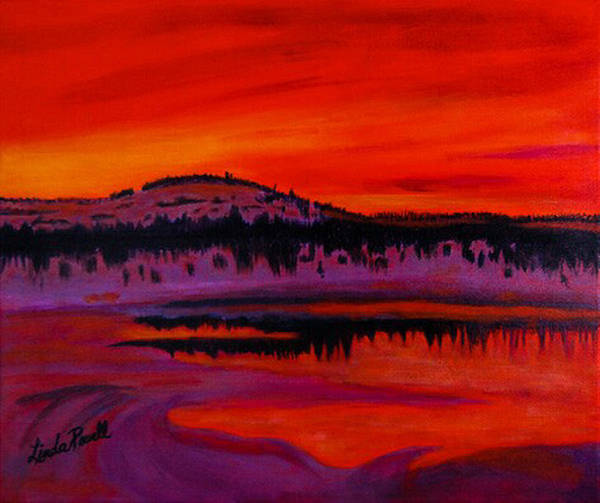 24 Inch Abstract Acrylic Landscape Red Purple Black Yellow Mountains Trees Lake Reflections Art Print featuring the painting Sunset by Linda Powell