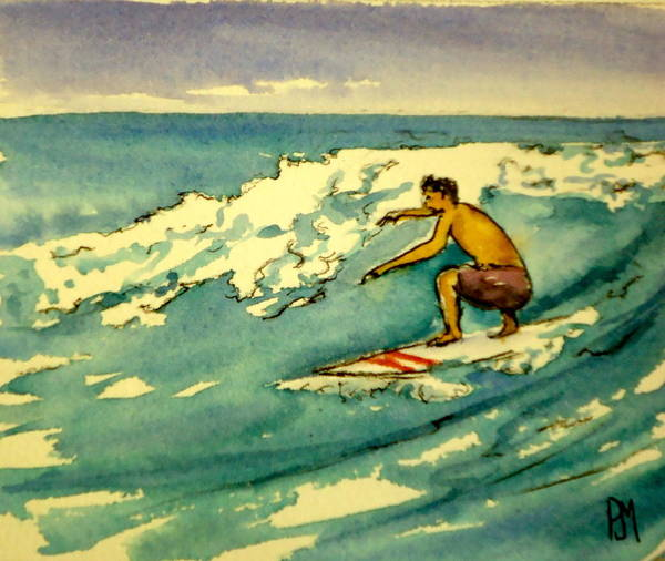 Surfing Art Print featuring the painting Surfer In The Sky by Pete Maier