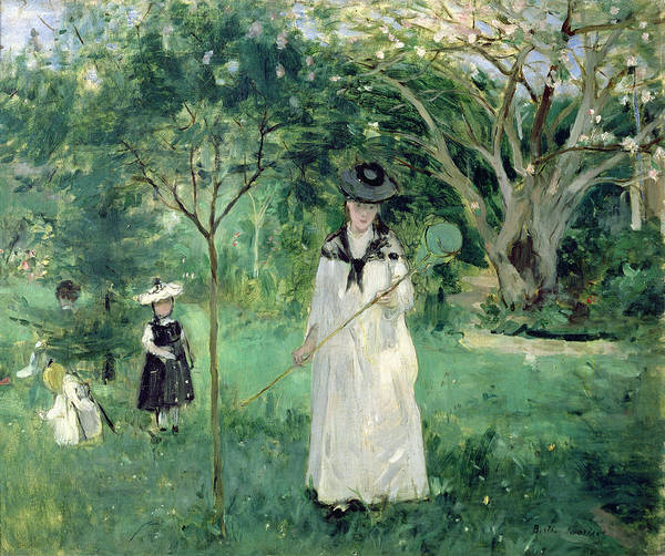 The Print featuring the painting The Butterfly Hunt by Berthe Morisot