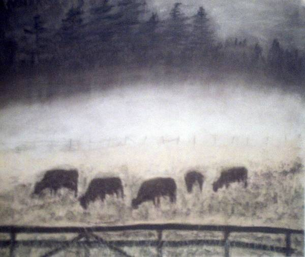 Landscape Art Print featuring the painting The Grazers by Jack Spath