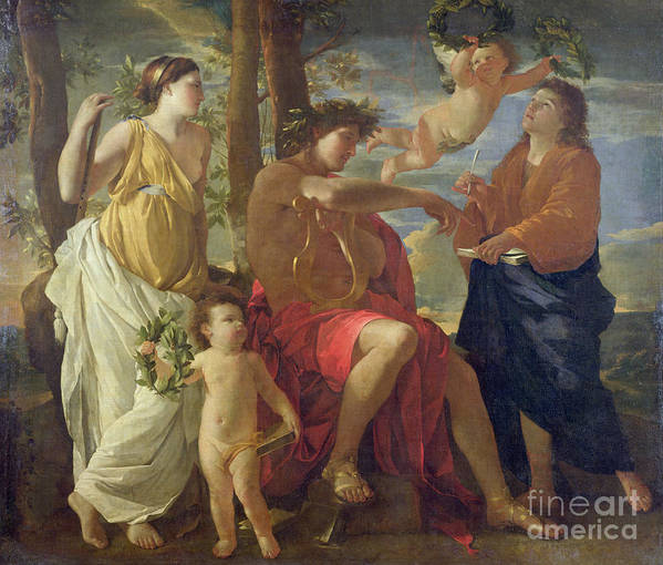 The Art Print featuring the painting The Poets Inspiration by Nicolas Poussin