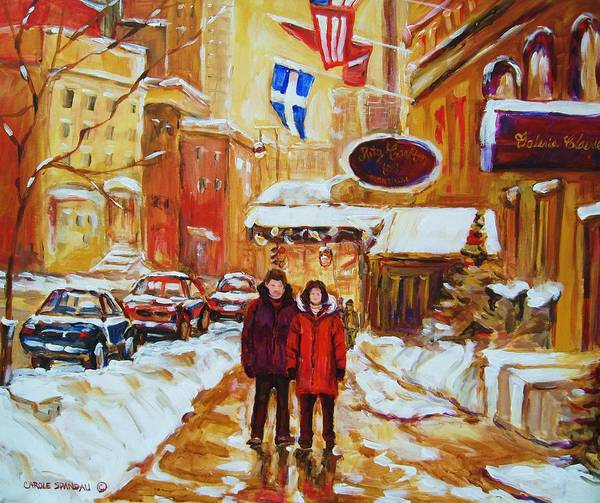 Streetscene Art Print featuring the painting The Ritz Carlton by Carole Spandau