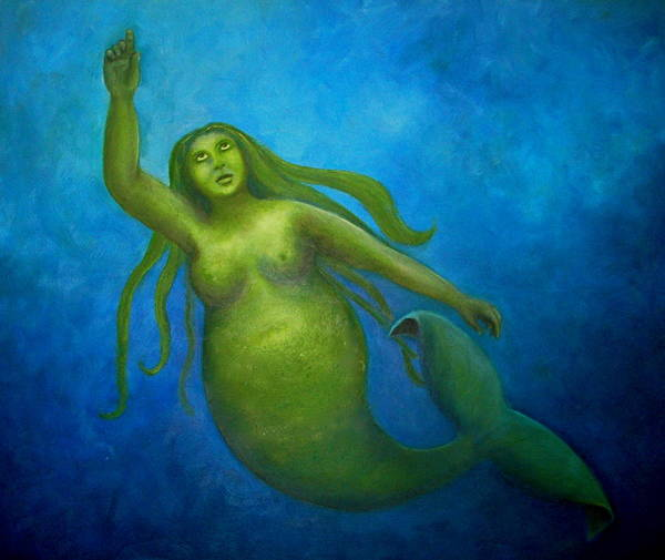 Mermaid Art Print featuring the painting The Rotund Mermaid by Marina Owens