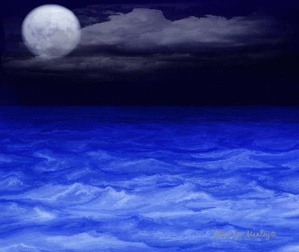 Sea Art Print featuring the digital art The Sea At Night by Gina Lee Manley