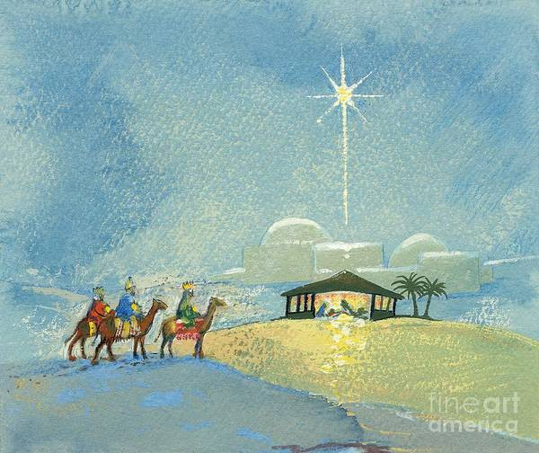 Star; Bethlehem; Christmas Card; Religious; Christian; Holy; Birth Of Jesus Christ; Nocturne; Landscape; Children's Illustration; Manger; Camels; Crowns; Kings; Horses Art Print featuring the painting Three Wise Men by David Cooke