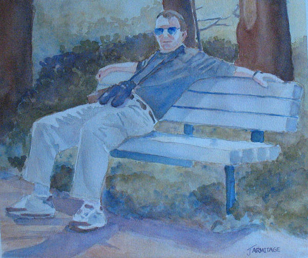 Tourists Art Print featuring the painting Tourist At Rest by Jenny Armitage
