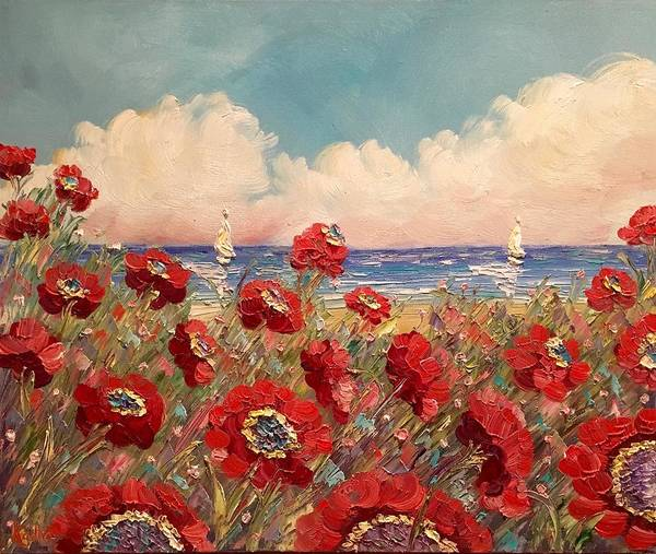 Poppies Art Print featuring the painting Tuscan Riviera Red Poppies by Sarah Kadlic