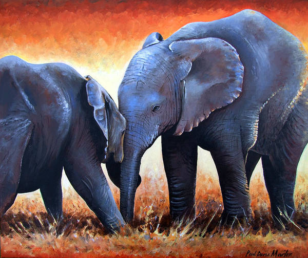 Elephants Art Print featuring the painting Two Little Elephants by Paul Dene Marlor