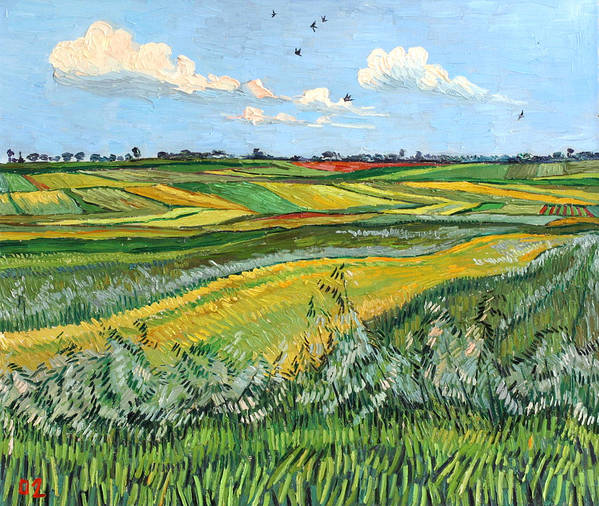 Wheat Art Print featuring the painting Wheat Fields And Clouds by Vitali Komarov