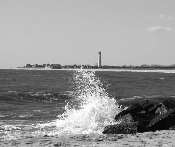 Lighthouse Art Print featuring the photograph Winter Wave by Terrie Stickle