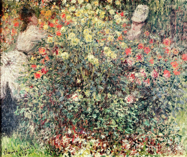 Women In The Flowers Print featuring the painting Women In The Flowers by Claude Monet