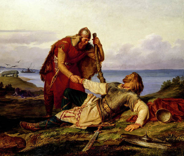 Marten Eskil Winge Art Print featuring the painting Hjalmar's Farewell To Orvar-oddr After The Battle Of Samso, 1866 by Marten Eskil Winge