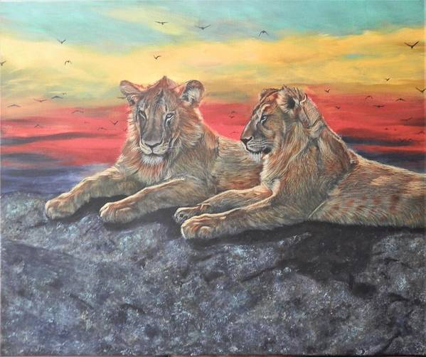 Lion Art Print featuring the painting Lion Sunset by John Neeve