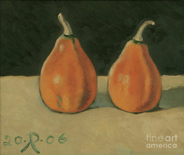 Still-life Pumpkins Orange Art Print featuring the painting Two Orange Pumpkins by Raimonda Jatkeviciute-Kasparaviciene