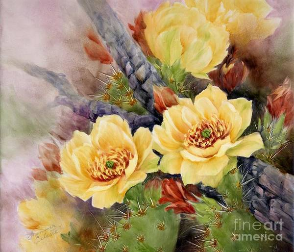Cactus Art Print featuring the painting Prickly Pear In Bloom by Summer Celeste
