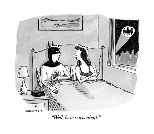 Well Art Print featuring the drawing Batman In Bed With Woman After Having Sex by Joe Dator