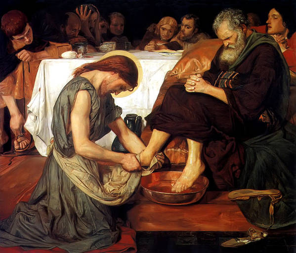 Christ Washing Peter's Feet Print featuring the painting Christ Washing Peter's Feet by Ford Madox Brown