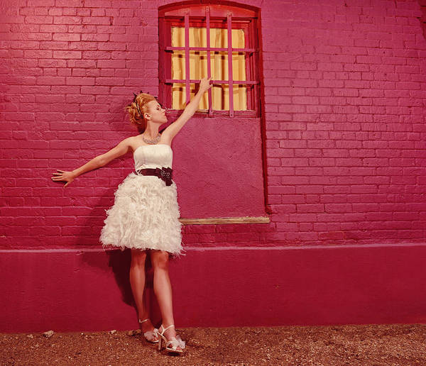 People Art Print featuring the photograph Classy Diva Standing In Front Of Pink Brick Wall by Kriss Russell