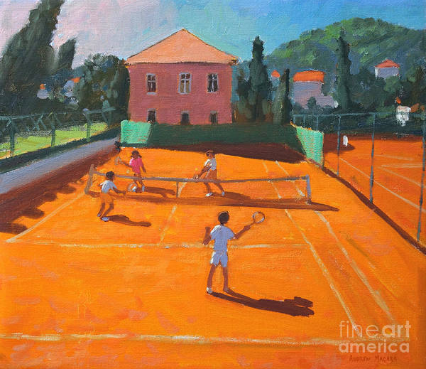 Tennis Art Print featuring the painting Clay Court Tennis by Andrew Macara