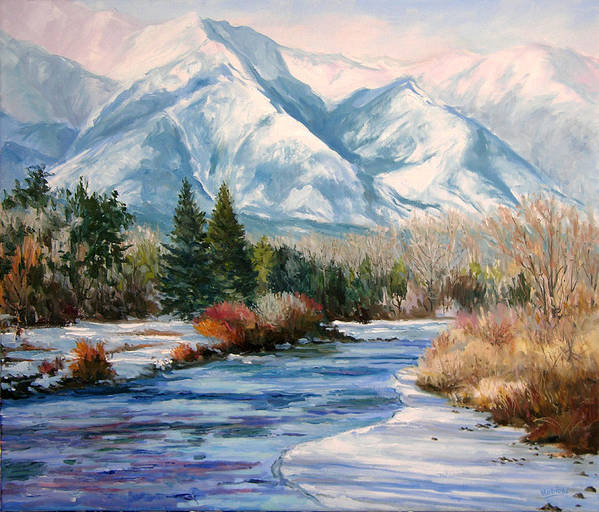 Art Art Print featuring the painting Colorado Winter On The Arkansas River by Frederick Hubicki