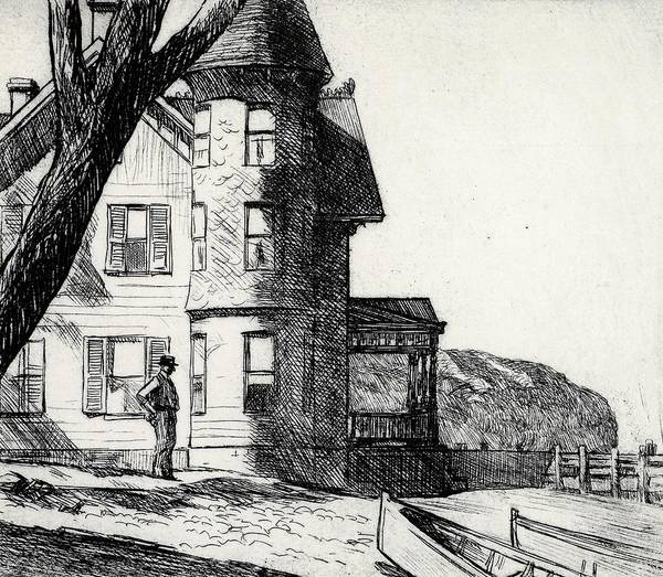 Edward Hopper Art Print featuring the drawing House By A River by Edward Hopper