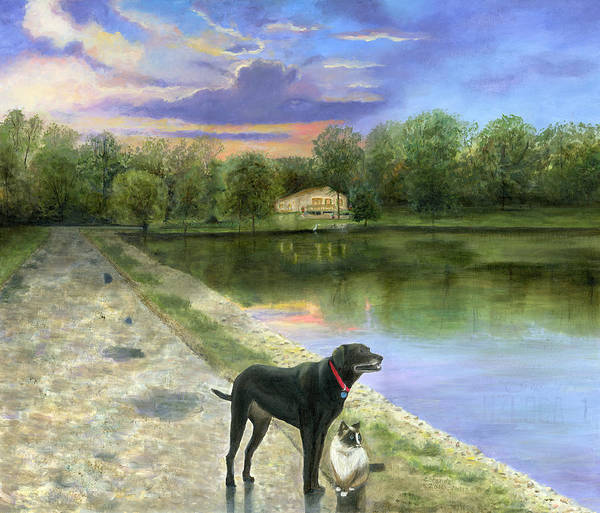 Jessica's Mystery Original Oil Painting Canvas Purple Blue Sky Clouds Sun Set Sunset Beautiful Cecilia Brendel Black Labrador Dog Lab Kitten Cat Portrait Home House Lake Front Thomas Kinkade Jessica's Mystery Trees Reflection Long Road Water Woods Green Gary Koen's Home Waterloo Illinios Thomas Kinkade Cecilia Brendel Art Print featuring the painting Jessica's Mystery by Cecilia Brendel