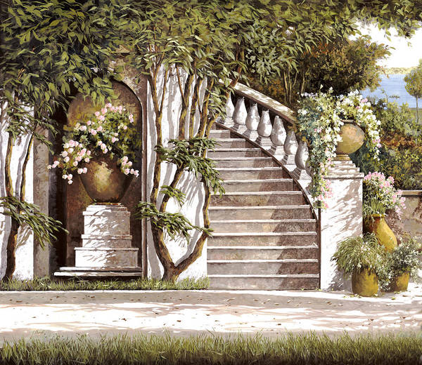 Stairs Art Print featuring the painting La Scalinata by Guido Borelli