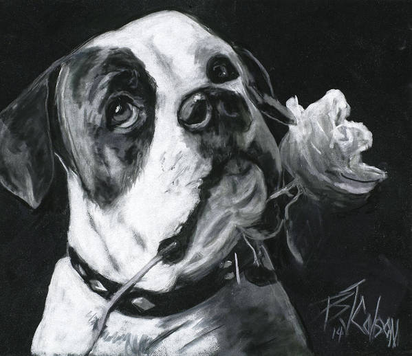 American Bulldog Art Print featuring the painting Loyal Love by Billie Colson