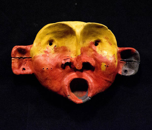 Wall Sculpture Art Print featuring the sculpture Nico Yellow And Red Mask by Mark M Mellon