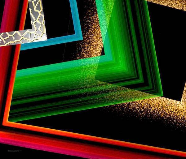 Colored Art Print featuring the digital art Red Green And Brown Abstract Art by Mario Perez