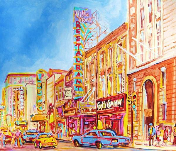 Paintings Of Montreal Art Print featuring the painting Saint Catherine Street Montreal by Carole Spandau