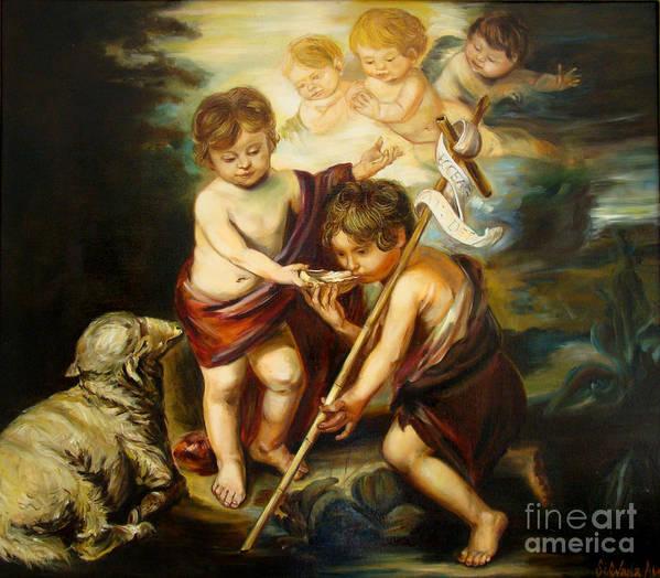 Classic Art Art Print featuring the painting Saint John Baptist by Silvana Abel