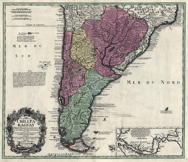 Southern South America Map 1733 Art Print