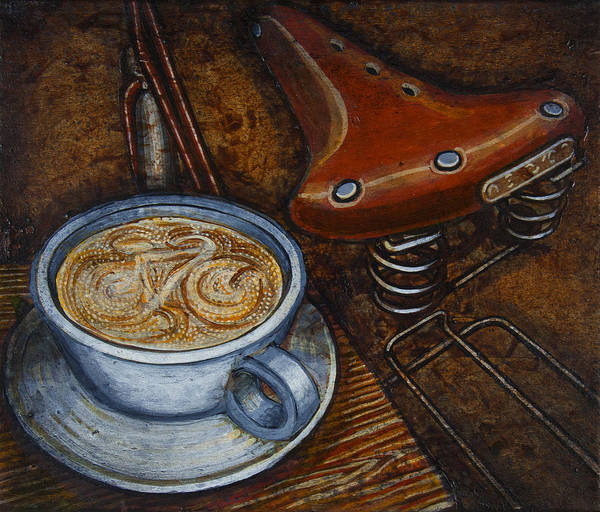 Coffee Art Print featuring the painting Still Life With Ladies Bike by Mark Howard Jones