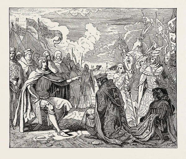 Submission Art Print featuring the drawing Submission Of Ottokar To Rudolf Of Habsburg by English School