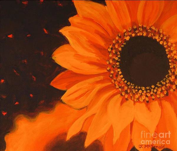 Sunflowers Art Print featuring the painting Sunflower Mystique by Janet McDonald