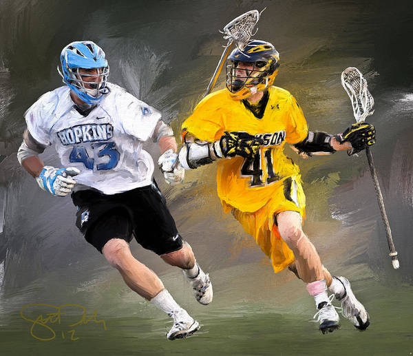 Lacrosse Art Print featuring the painting College Lacrosse 7 by Scott Melby