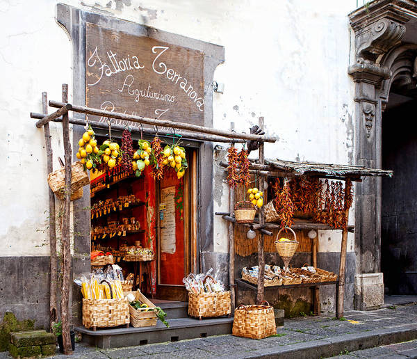 Store Art Print featuring the photograph Tratorria In Italy by Susan Schmitz