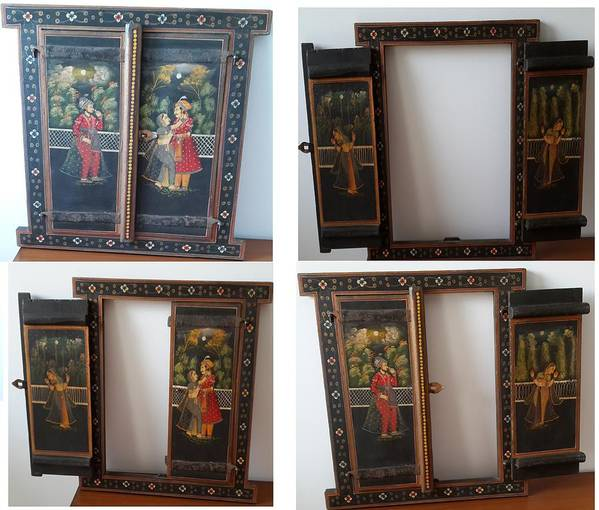 Wooden Window Used As A Voil Hanging Art Print featuring the painting Window Wall Hanging by Palli Ritu
